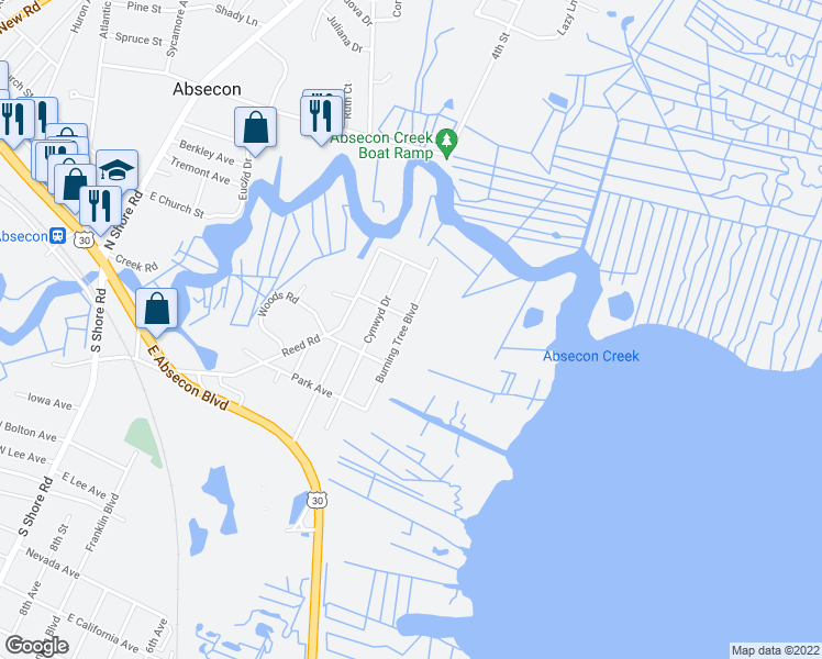 map of restaurants, bars, coffee shops, grocery stores, and more near 304 Burning Tree Boulevard in Absecon