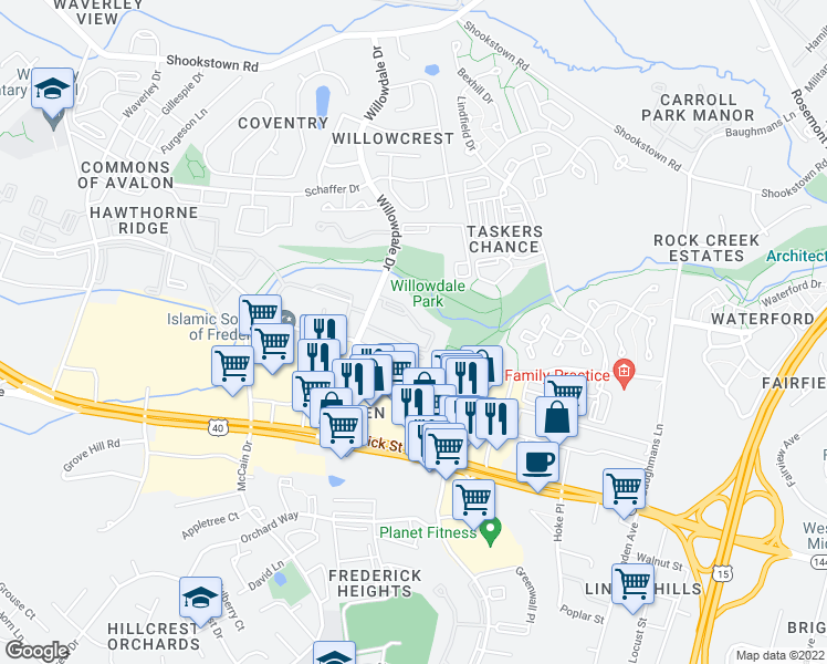 map of restaurants, bars, coffee shops, grocery stores, and more near 150 Willowdale Drive in Frederick