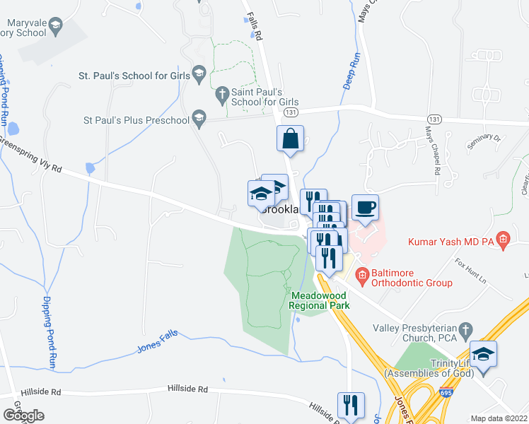 map of restaurants, bars, coffee shops, grocery stores, and more near 10807 Tony Drive in Lutherville-Timonium