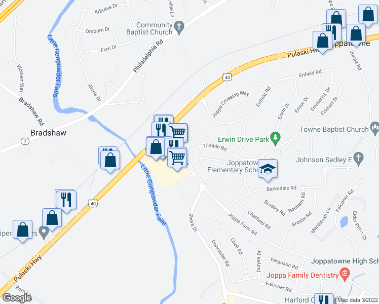 map of restaurants, bars, coffee shops, grocery stores, and more near 984-998 Joppa Farm Road in Harford County