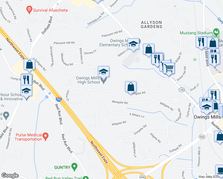 map of restaurants, bars, coffee shops, grocery stores, and more near 100-150 South Tollgate Road in Owings Mills