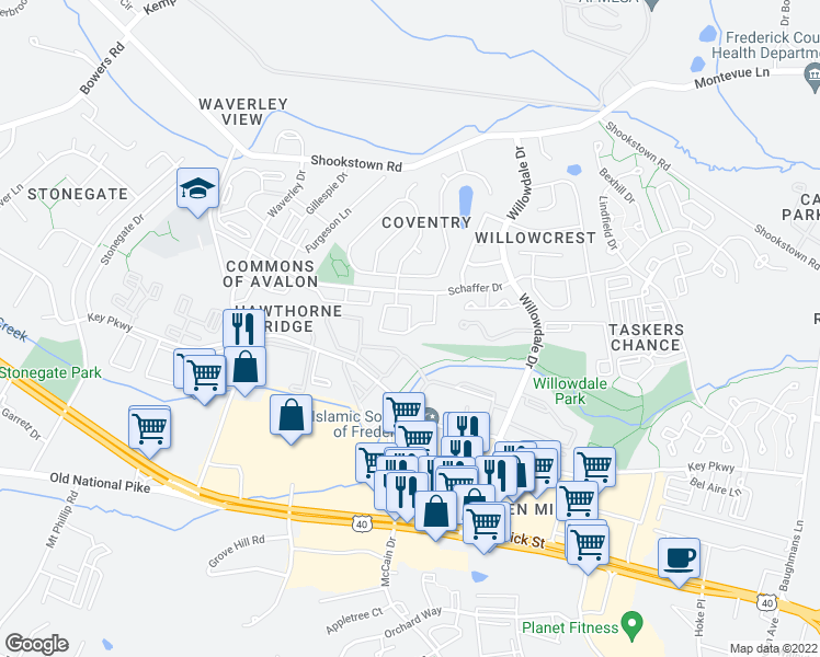 map of restaurants, bars, coffee shops, grocery stores, and more near 40 Livingstone Terrace in Frederick