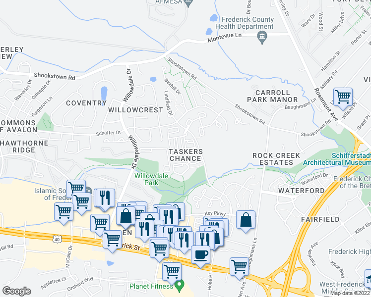map of restaurants, bars, coffee shops, grocery stores, and more near Park Ridge Drive in Frederick