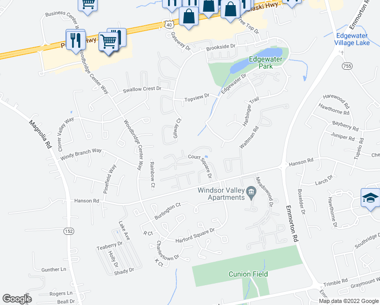map of restaurants, bars, coffee shops, grocery stores, and more near 743 Court Square Drive in Edgewood