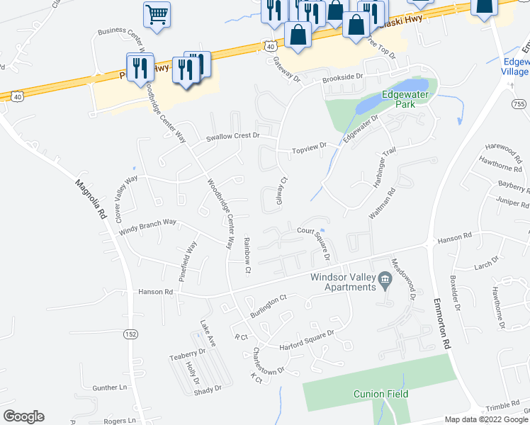 map of restaurants, bars, coffee shops, grocery stores, and more near 831 Windstream Way in Edgewood