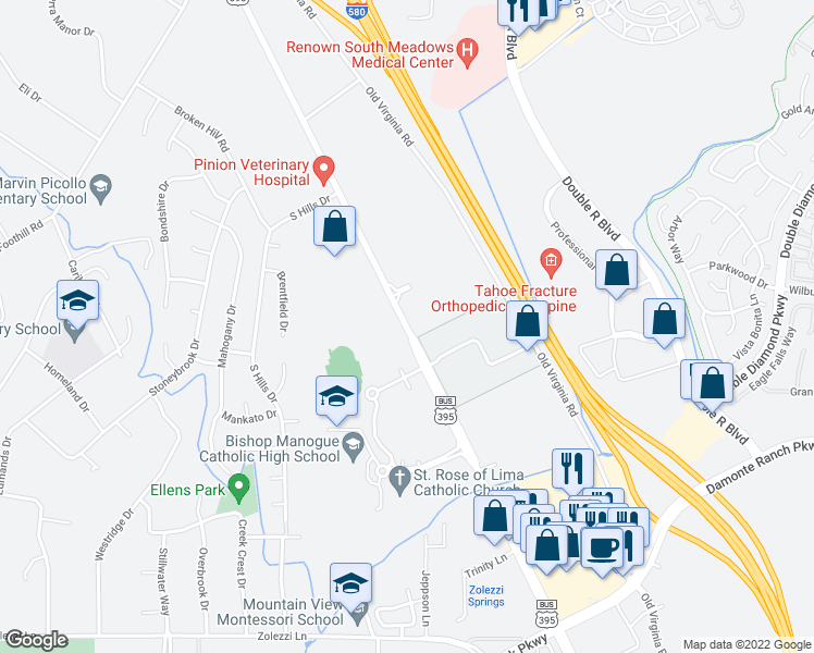 map of restaurants, bars, coffee shops, grocery stores, and more near 25 McCabe Drive in Reno