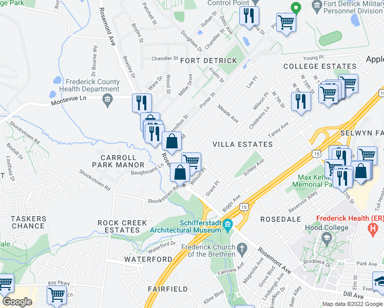 map of restaurants, bars, coffee shops, grocery stores, and more near 413 Lee Place in Frederick