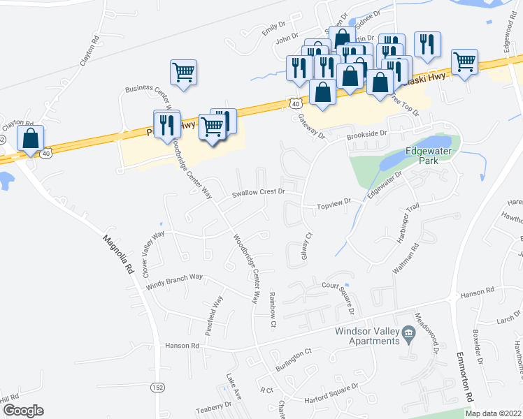 map of restaurants, bars, coffee shops, grocery stores, and more near 1305 Clover Valley Way in Edgewood