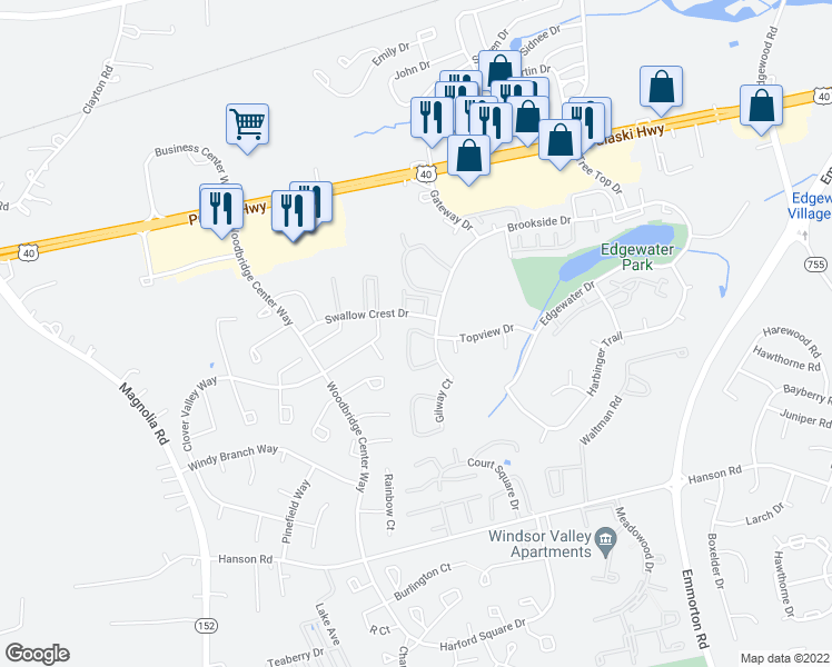 map of restaurants, bars, coffee shops, grocery stores, and more near 1730 Fountain Rock Way in Edgewood