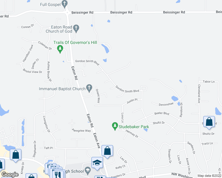 map of restaurants, bars, coffee shops, grocery stores, and more near Pepperwood Ct in Hamilton