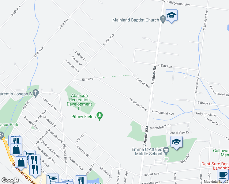 map of restaurants, bars, coffee shops, grocery stores, and more near 629 Woodland Avenue in Absecon