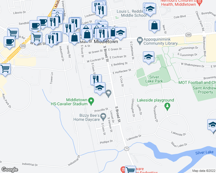 map of restaurants, bars, coffee shops, grocery stores, and more near Trailers in Middletown
