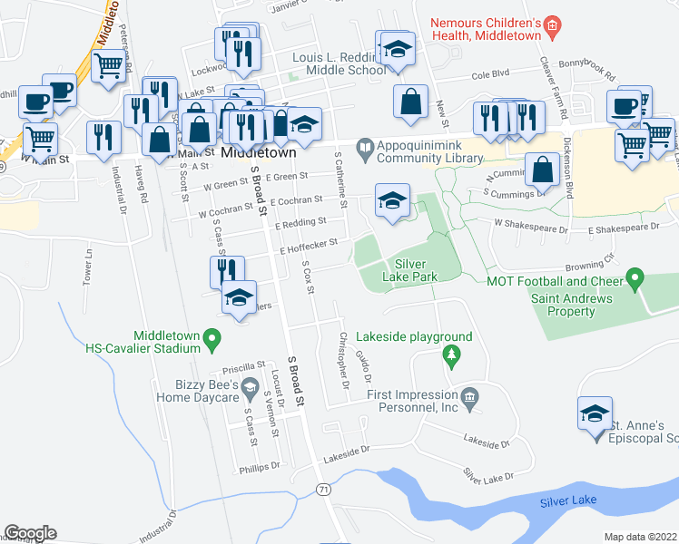 map of restaurants, bars, coffee shops, grocery stores, and more near 107 East Park Place in Middletown