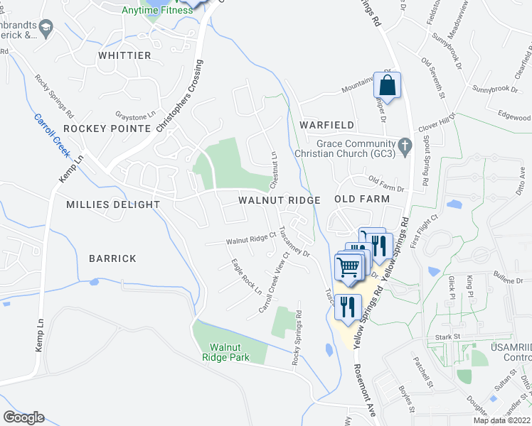 map of restaurants, bars, coffee shops, grocery stores, and more near Country Run Way in Frederick