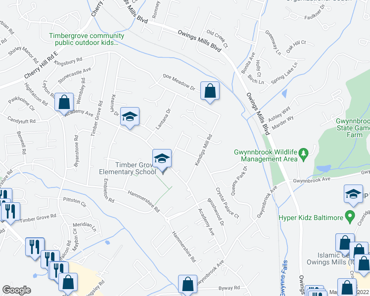 map of restaurants, bars, coffee shops, grocery stores, and more near 415 Woodhill Drive in Owings Mills