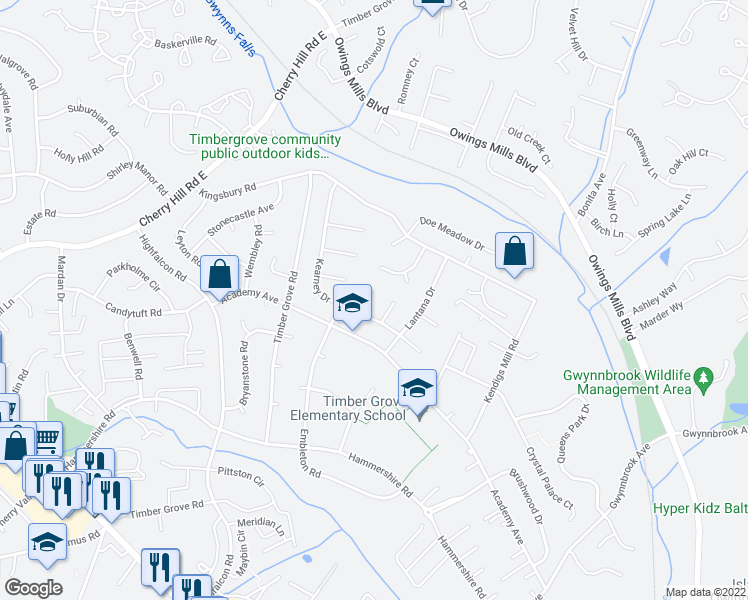 map of restaurants, bars, coffee shops, grocery stores, and more near 5 Honeybell Court in Owings Mills