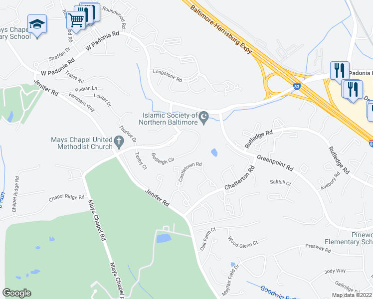 map of restaurants, bars, coffee shops, grocery stores, and more near 663 Budleigh Circle in Lutherville-Timonium