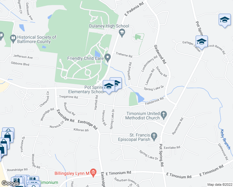 map of restaurants, bars, coffee shops, grocery stores, and more near 2410 Spring Lake Drive in Lutherville-Timonium