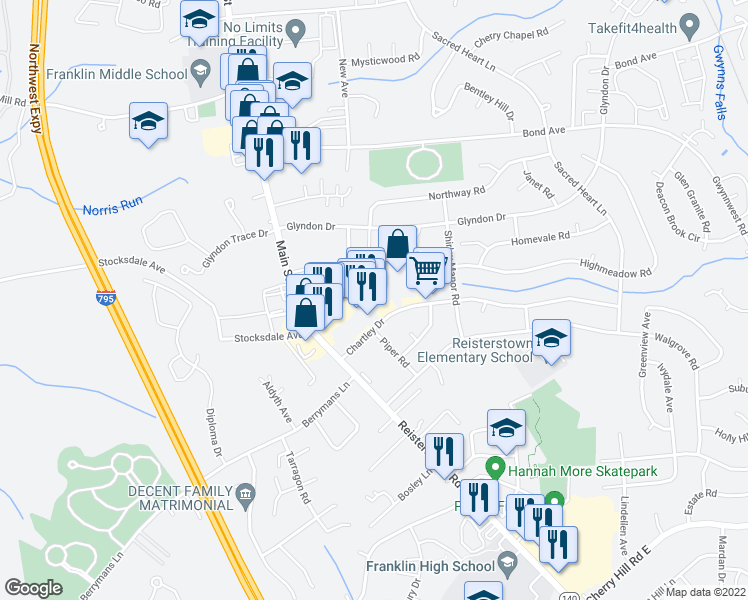 map of restaurants, bars, coffee shops, grocery stores, and more near 478-480 Chartley Park Drive in Reisterstown