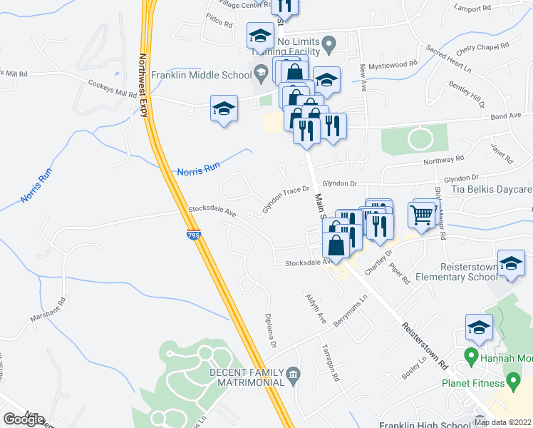 map of restaurants, bars, coffee shops, grocery stores, and more near 135 Glyndon Trace Drive in Reisterstown