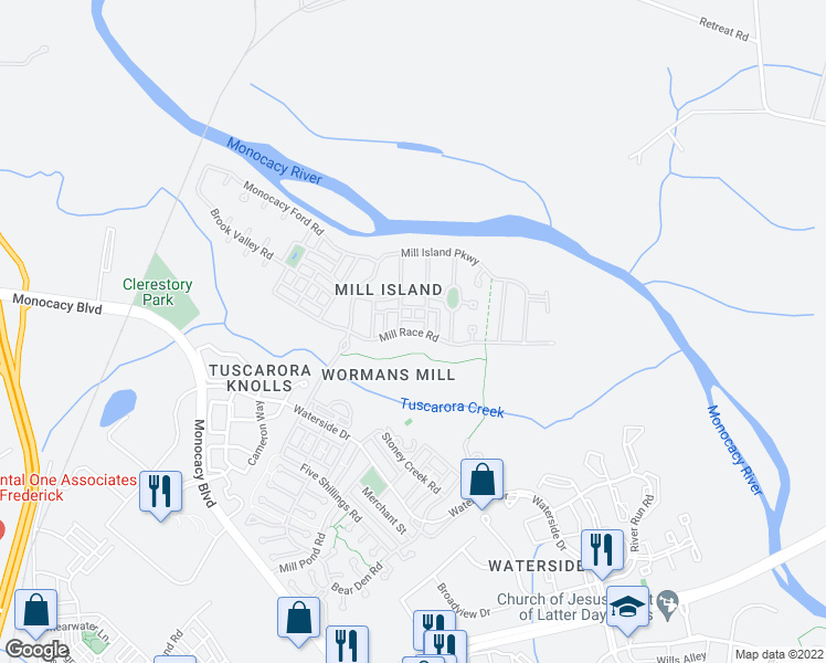map of restaurants, bars, coffee shops, grocery stores, and more near 2523 Mill Race Road in Frederick