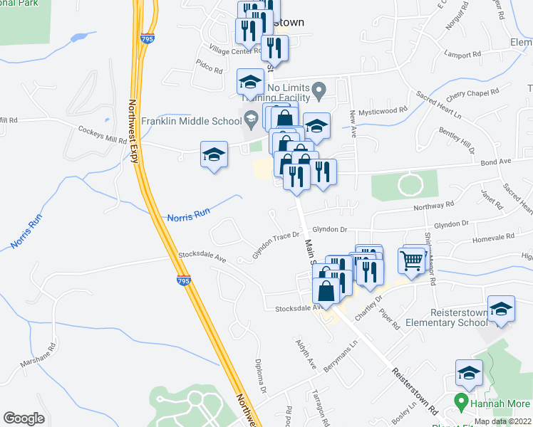 map of restaurants, bars, coffee shops, grocery stores, and more near 312 Lauren Hill Court in Reisterstown