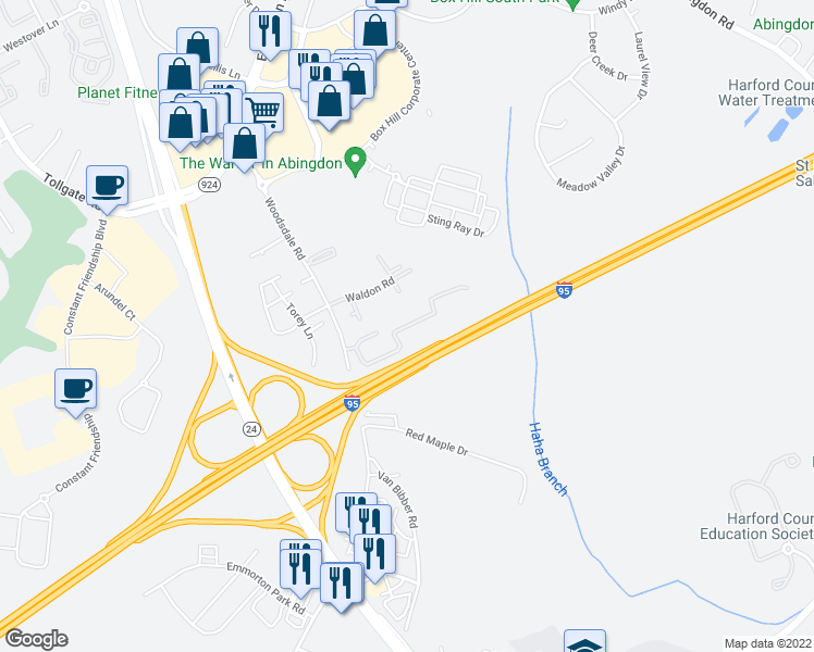 map of restaurants, bars, coffee shops, grocery stores, and more near 3801 Memory Lane in Abingdon