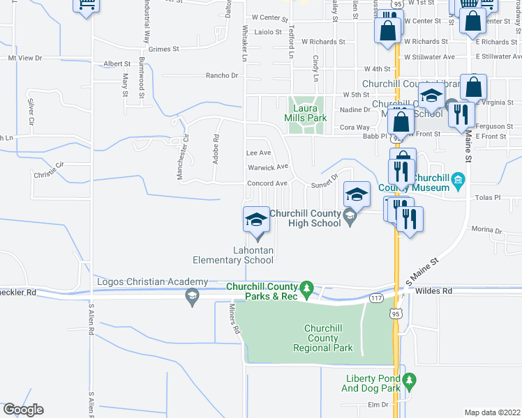 map of restaurants, bars, coffee shops, grocery stores, and more near 1099 Merton Drive in Fallon