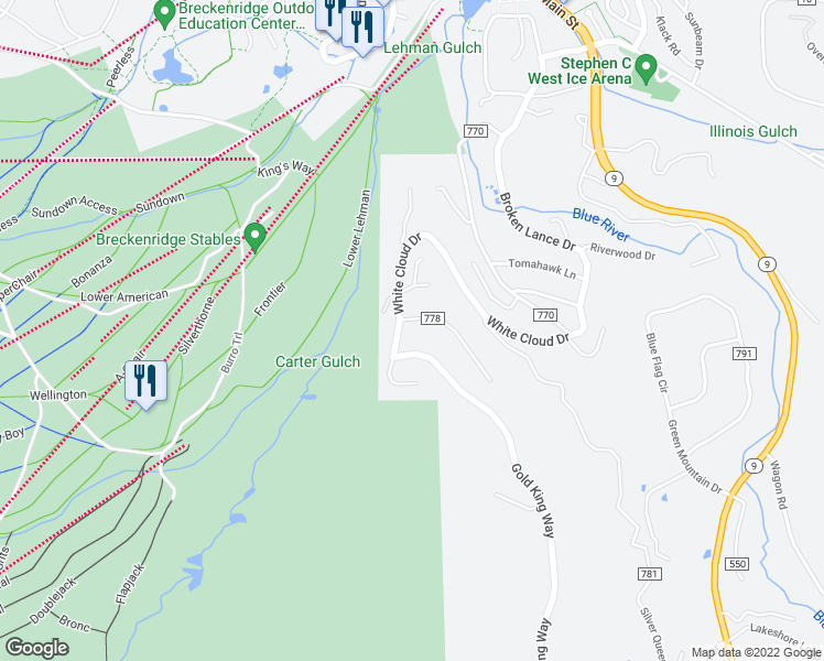 map of restaurants, bars, coffee shops, grocery stores, and more near 20 New England Drive in Breckenridge
