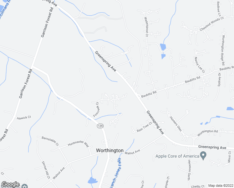 map of restaurants, bars, coffee shops, grocery stores, and more near 18 Foxcreek Court in Owings Mills