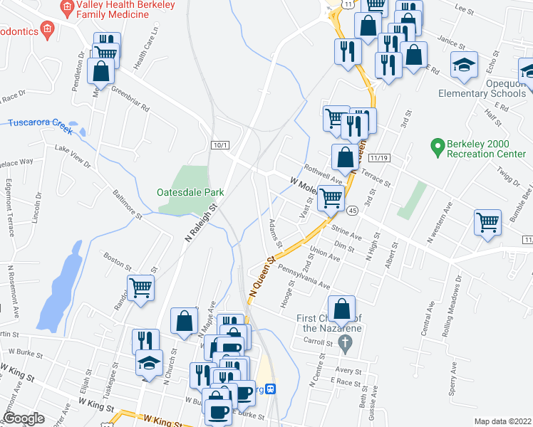 map of restaurants, bars, coffee shops, grocery stores, and more near 201-219 Adams Street in Martinsburg