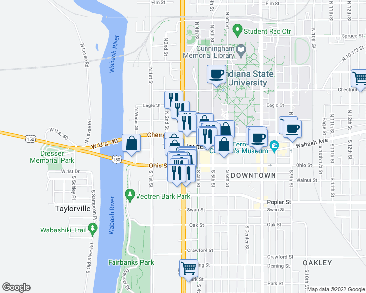 map of restaurants, bars, coffee shops, grocery stores, and more near in Terre Haute