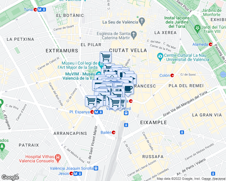 map of restaurants, bars, coffee shops, grocery stores, and more near 75 Carrer de Sant Vicent Màrtir in València