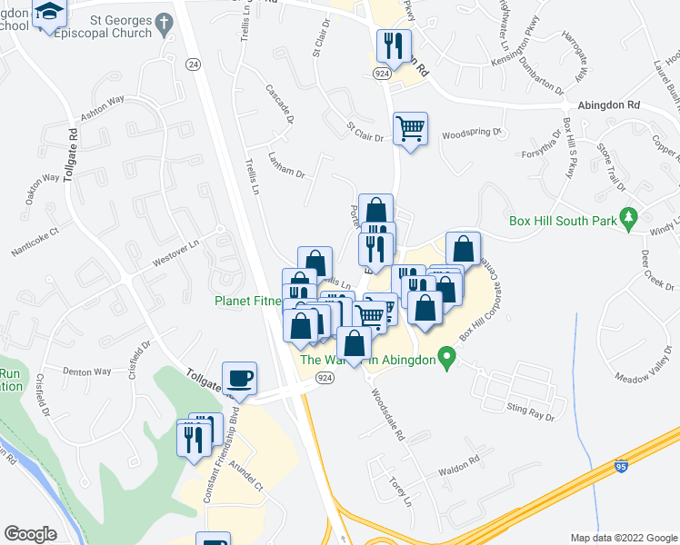 map of restaurants, bars, coffee shops, grocery stores, and more near 3405 Brooks Avenue in Abingdon
