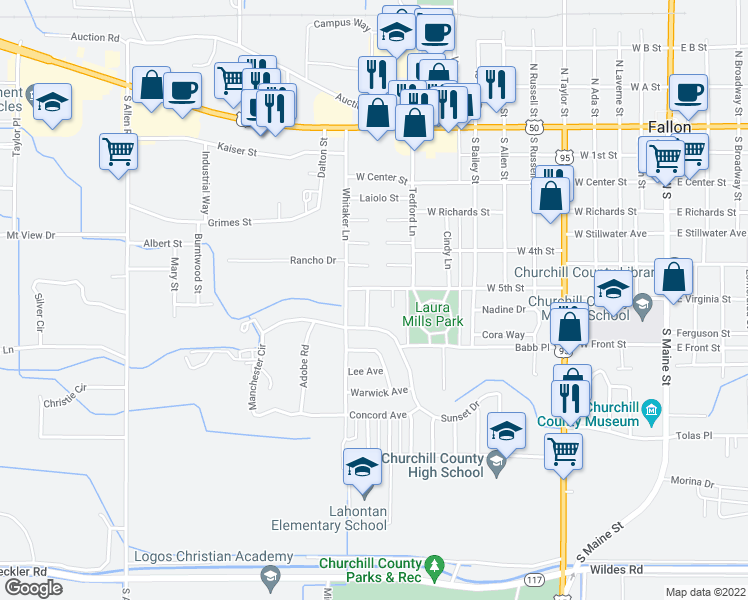 map of restaurants, bars, coffee shops, grocery stores, and more near 511 Anthony Lane in Fallon