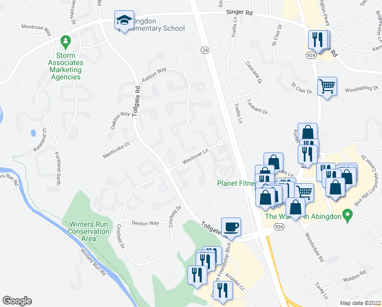 map of restaurants, bars, coffee shops, grocery stores, and more near 3382 Garrison Circle in Abingdon