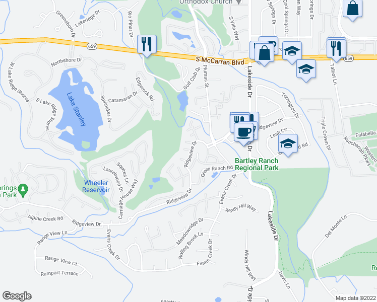 map of restaurants, bars, coffee shops, grocery stores, and more near 21 Ridgeview Drive in Reno