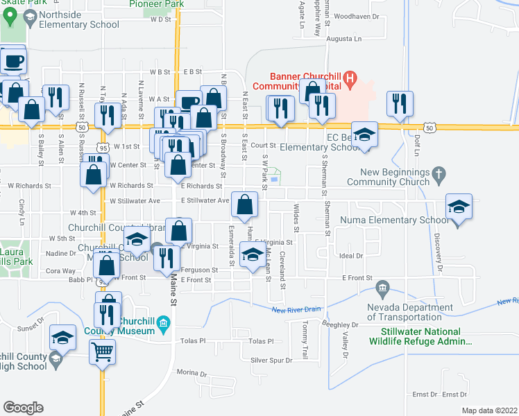 map of restaurants, bars, coffee shops, grocery stores, and more near 376 East Stillwater Avenue in Fallon