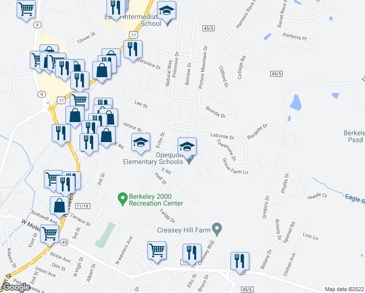 map of restaurants, bars, coffee shops, grocery stores, and more near 25 Duke Road in Martinsburg
