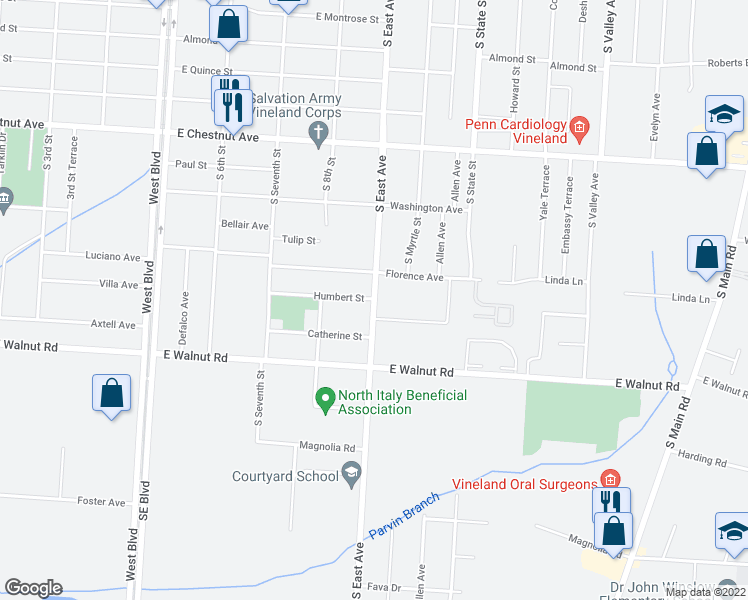 map of restaurants, bars, coffee shops, grocery stores, and more near 821 Florence Avenue in Vineland