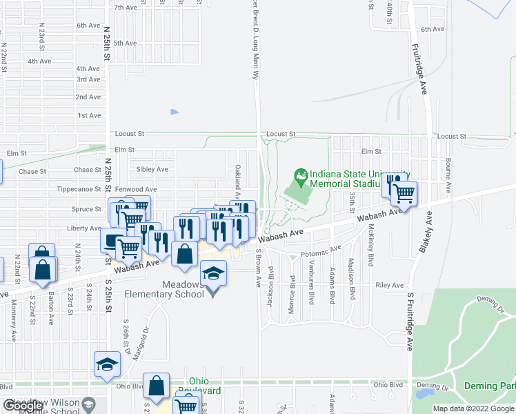 map of restaurants, bars, coffee shops, grocery stores, and more near 100 North Brown Avenue in Terre Haute