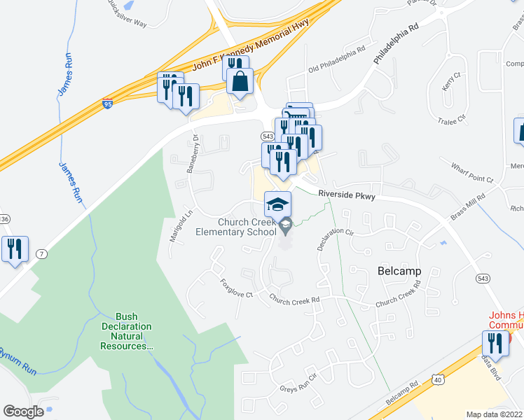 map of restaurants, bars, coffee shops, grocery stores, and more near 1300 Liriope Court in Belcamp