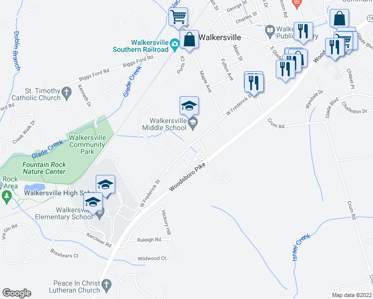 map of restaurants, bars, coffee shops, grocery stores, and more near 354-398 Commerce Drive in Walkersville