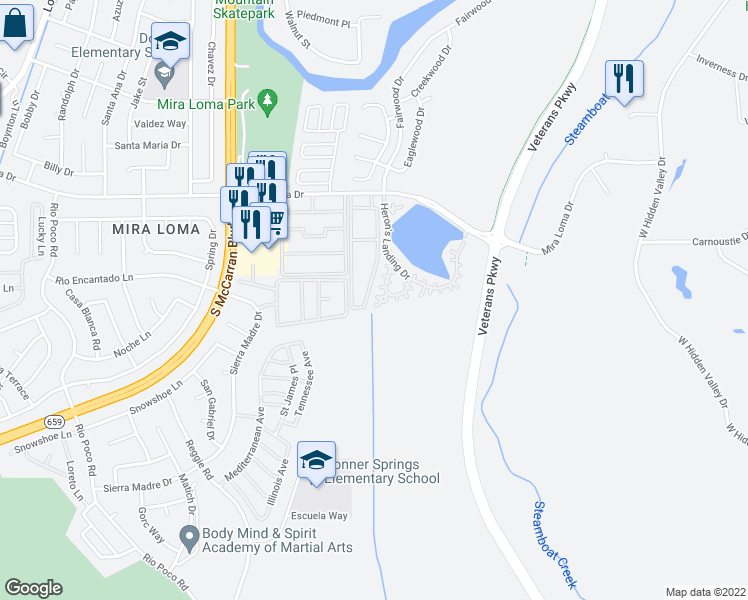 map of restaurants, bars, coffee shops, grocery stores, and more near 3540 Heron's Circle in Reno