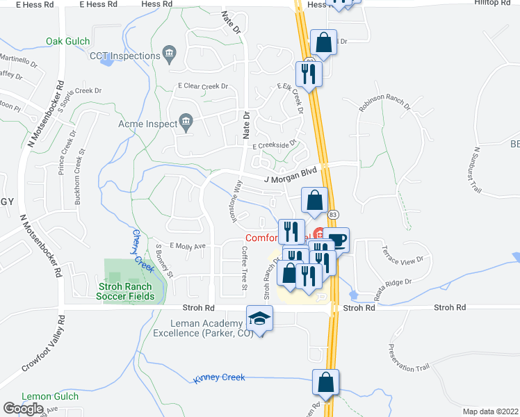 map of restaurants, bars, coffee shops, grocery stores, and more near 12858 Ironstone Way in Parker