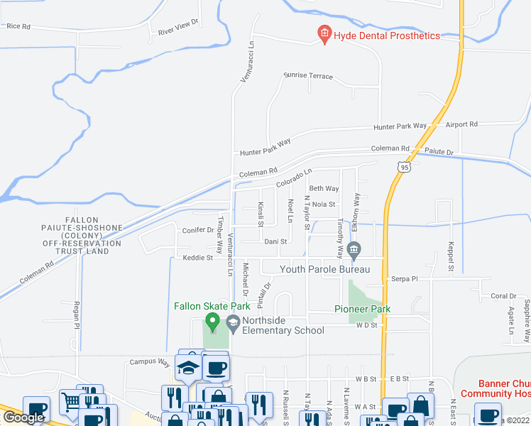map of restaurants, bars, coffee shops, grocery stores, and more near 790 Kinsli Street in Fallon