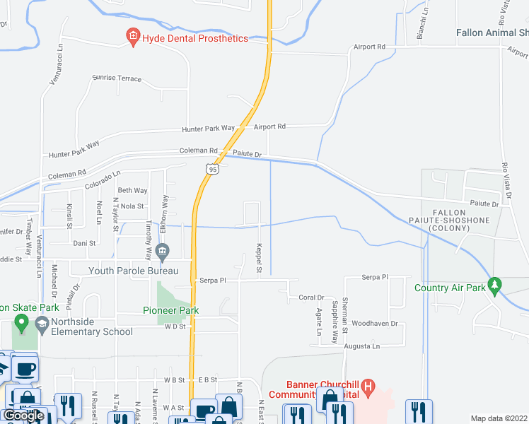 map of restaurants, bars, coffee shops, grocery stores, and more near 742 Keppel Street in Fallon