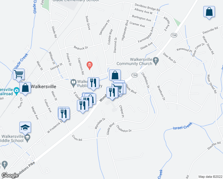 map of restaurants, bars, coffee shops, grocery stores, and more near 9210 Woodsboro Pike in Walkersville