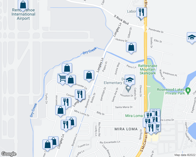 map of restaurants, bars, coffee shops, grocery stores, and more near 4005 Mustang Court in Reno