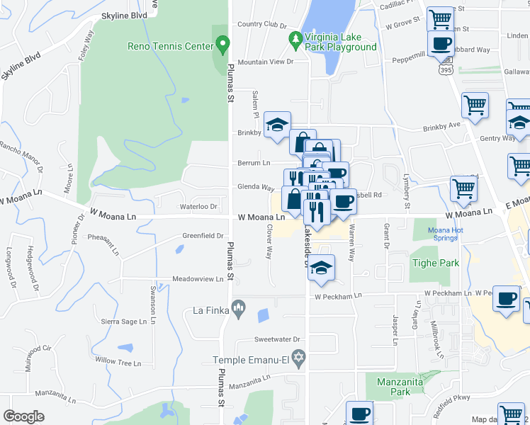 map of restaurants, bars, coffee shops, grocery stores, and more near 3285 Clover Way in Reno
